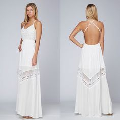 """Corsair"" Backless Strappy White Maxi Dress Strappy white maxi dress with a Crossback design and crochet inserts. Brand new. True to size. Bare Anthology Dresses Maxi"
