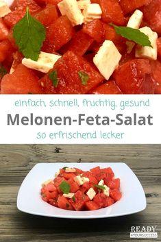 Dieser Melonen-Feta-Salat ist ein absolutes Muss an heißen Sommertagen. Er ist geschmacklich ein wahrer Gaumenschmaus und ist nicht nur gesund, sondern auch sehr kalorienarm. Ideal für alle, die abnehmen wollen. Auch für Lipödem-Betroffene bestens geeignet, denn gerade mit Kompression benötigt man an heißen Tagen öfter mal eine Erfrischung. Hier kann ohne Reue zugeschlagen werden. #Salat #kalorienarm #gesund #erfrischend #lecker #abnehmen #Lipödem #gesundeErnährung #abnehmenmitLipödem #fruchtig Salsa, Cheese, Snacks, Ethnic Recipes, Food, Plants, Healthy Recipes, Healthy Food, Appetizers