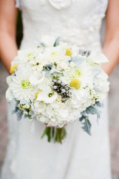 White and Yellow Bridal Bouquet- like balance of color with yellow accent- no gray no dark, roses, peony look, hydrangea, calla lily, ranunculus, billy ball