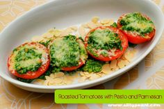 Roasted Tomatoes With Pesto and Parmesan by steph2pigs, via Flickr