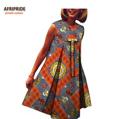 Online Shop 2019 spring dress for women AFRIPRIDE african handmade sleeveless O-neck knee-length casual women dress with bow front African Dresses For Kids, African Maxi Dresses, Latest African Fashion Dresses, African Print Fashion, African Attire, African Wear, Dresses For Pregnant Women, Casual Dresses For Women, Clothes For Women