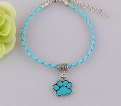 Paw Print Pendant Leather Bracelet - 10 Colors   Show your love of your pet with these dog bracelets!