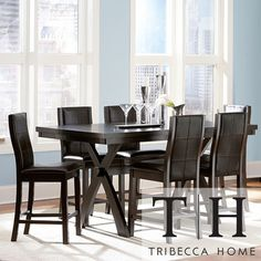 @Overstock.com - TRIBECCA HOME Dartford Espresso 7-piece Contoured Counter Set - Distinctive modern appeal is captured in the clean lines of the Dartford Collection. The X-based trestle dining table is perfectly matched by wood-framed, bi-cast vinyl upholstered chairs.  http://www.overstock.com/Home-Garden/TRIBECCA-HOME-Dartford-Espresso-7-piece-Contoured-Counter-Set/6588492/product.html?CID=214117 $965.99