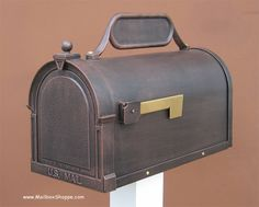 The Savannah Mailbox is a solid cast aluminum post mount mailbox available in 8 colors with an optional newspaper holder. Copper Mailbox, Stone Mailbox, Large Mailbox, Mailbox Post, Wall Mount Mailbox, Mounted Mailbox, Aged Copper, Antique Copper, Letters