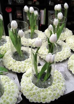 Tulip centerpiece with floral ring at base floral arrangements. Table Centerpieces, Wedding Centerpieces, Wedding Table, Wedding Decorations, Table Decorations, Wedding Ideas, White Flower Centerpieces, Centerpiece Ideas, Wedding Reception