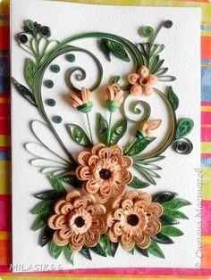 Картина панно рисунок Квиллинг Две открыточки Бумага Бумажные полосы фото 1