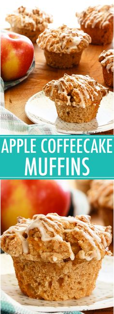 Apple Muffins with Crumb Topping - Quick and easy apple muffins filled with apples and finished with a crunchy cinnamon crumb topping. The best kind of breakfast.
