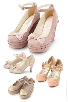 liz lisa pink shoes heels platforms ankle straps maryjanes I love the ones in the middle on the left side.