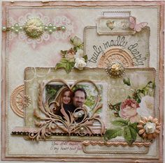 Scrapbook page made by Websters Pages design team member Gabrielle Pollacco using the 'In Love' collection papers, alpha stickers, fabric tickets, Cameos, fabric doilies, fabric trim and Dazzle-Me-Gems