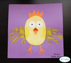Chicken Handprint Art for Easter or farm animals K Crafts, Daycare Crafts, Classroom Crafts, Preschool Crafts, Easter Activities, Spring Activities, Easter Crafts For Kids, Art Activities, Easter Ideas