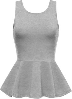 cf7c4d80bca4be Cotton Spandex Sleeveless Peplum Top HGRAY 2XL at Amazon Women's Clothing  store: