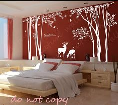 Forest Decals room decor wall stickers  Kids wall decals baby decal nursery decal room decor wall decor wall art -deer forest. $120.00, via Etsy.