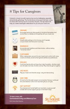 A Sunrise Infographic: 8 Tips for Caregivers #caregiver #alzheimers #tgen #mindcrowd www.mindcrowd.org