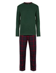Brushed Cotton Thermal T-Shirt & Checked Trousers Set