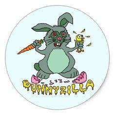 Shop Funny Easter Bunny Cute Bunnyzilla Rabbit Cartoon Classic Round Sticker created by HaHaHolidays. Easter Bunny Cartoon, Easter Cartoons, Funny Cartoons, Funny Picture Quotes, Funny Pictures, Funny Easter Jokes, Easter Show, Easter Pictures, Funny Happy