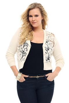 Torrid.com - The Destination for Trendy Plus-size Fashion and Accessories - ivory crochet lace cropped cardigan