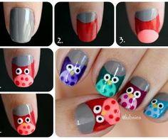 Cute Owl Nail art via weheartit.com