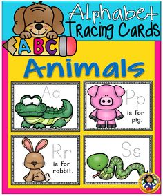 Here is a colorful set of ABC Animals Tracing Cards to help your little ones with letter and sound identification.