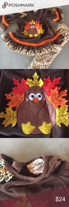 Thanksgiving Outfit Super cute turkey day outfit! Don't pay full price on an outfit baby will wear once. Brown shirt with turkey appliqué, orange ribbon, and comes with leopard print pants. Rare Editions Matching Sets