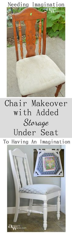 Thrift Store Chair Makeover with Added Storage Under Seat - ambientwares.com