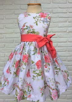 Vestido Floral Festa Branco -Faixa Coral