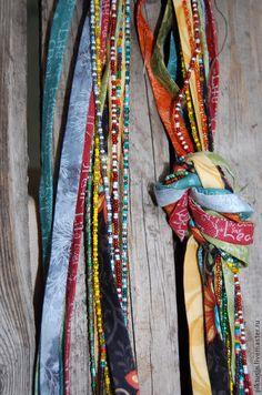 Купить Радуга леса Текстильное колье - украшение, колье, текстильное колье, украшение на шею, лес