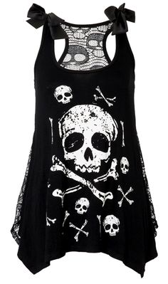 Jawbreaker Skull & Crossbones Lace Back Vest | Gothic Clothing | Emo clothing | Alternative clothing | Punk clothing - Chaotic Clothing