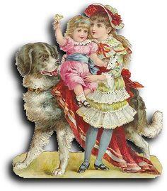 Victorian scrap: 2 Girls and dog
