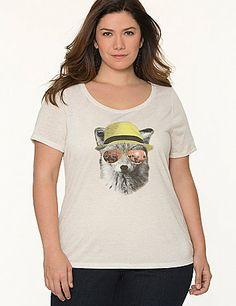 """Carefree heathered tee is a season-perfect pick with a whimsical fox print and """"Create your own calm"""" graphic on the back. #LaneBryant"""