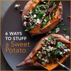 All you do is pop them in the microwave (or roast) and pack them full of healthy ingredients! Choose organically-grown sweet potatoes so you can eat them with their skin. Here are our 6 favorite ways to stuff your tater!