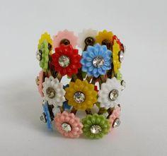 Vtg Floral Plastic Rhinestone Hair Bun Holder Cage Wrap Accessory Colorful  #Unbranded #BunWraps