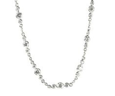 Diamond platinum chain with three stone collet design. Total diamond weight 3.20ct  http://www.luciecampbell.com/necklaces/All/1353--6/  £4850  richard@luciecampbell.com  Lucie Campbell Jewellers Bond Street London  http://www.luciecampbell.com