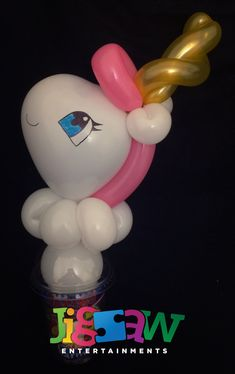 Unicorn balloon candy cup Sweetie Cones, Balloon Modelling, Unicorn Balloon, Disco Party, Party Bags, Chibi, Favors, Balloons, Cups