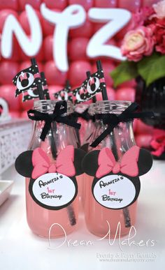 Minnie Mouse Polka dots Birthday Party drinks!  See more party ideas at CatchMyParty.com!