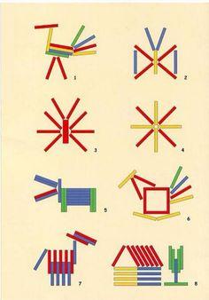 ilk önce dil çubukları (abeslang) farklı renklere boyanır daha sonra boyanan renkli çubuklarla eşleştirme, örüntü gibi çalışmalar yapıla...