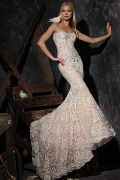 Embellished lace wedding dress by Victor Harper Couture