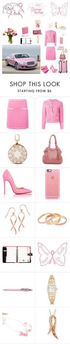 """Breast Cancer Awareness"" by horcal ❤ liked on Polyvore featuring Moschino, Tory Burch, The Bradford Exchange, Christian Louboutin, Casetify, Forever 21, ACCO, WALL, Paper Mate and Ralph Lauren"