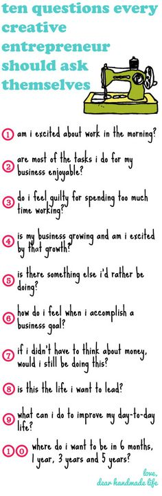 ten questions every entrepreneur should ask themselves - dear handmade life
