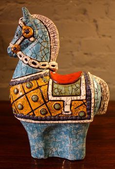 Very Cool!!! Antique 1960s Italian Modern Terracotta Ceramic 'Crackle' Horse.