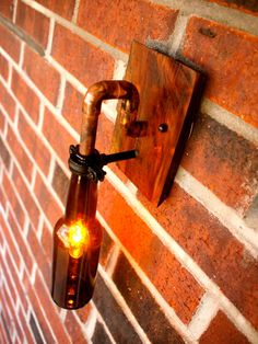 Beer Bottle Light Lamp  Industrial Sconce  Interior by BSquaredInc, $86.00