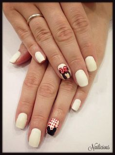 Vanilla with Minnie Mouse Nail Art