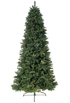 JW-EW08 8' Prelit Artificial Eastwood Fir Slim Tree 750 Clear Lights, 1721 Tips With Metal Stand