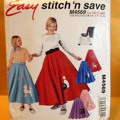a15ca5b00a99 McCall's Sewing Pattern 4569 Easy Stitch 'n Save Girls' Costumes;  Description: Boat-neck Top & Poodle Skirts: Costume consists of top wi