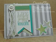 Happenings Simply Created Kit, Perfect Pennants stamp set, Bermuda Bay, Pear Pizzazz, and Whisper White card stock, Bermuda Bay, Pear Pizzazz, and Smoky Slate ink, Basic Rhinestones, sponges, and some extra Silver glimmer paper (top banner)