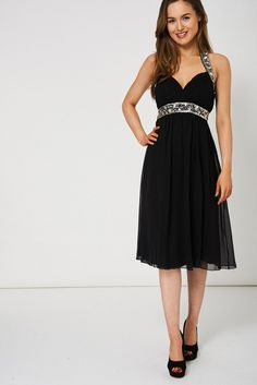 Black Pleated Bust And Gem Chiffon Dress