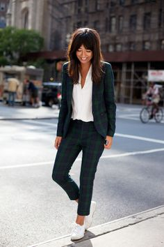 """Glamour: Danielle, describe your style in five words or less.  Danielle Nachmani: """"Delicate, classic; dash of Francophile.""""  Says Danielle, """"This suit feels very tomboyish but in the best way. I would wear it to a client meeting or for a day of market appointments."""""""