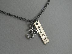 OM NAMASTE YOGA Necklace - Yoga Jewelry - Om Necklace - Namaste Necklace on 18 inch gunmetal chain - Om Necklace