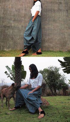 Origami long lounge pants Smoke gray linen/cotton  by cocoricooo, $42.00
