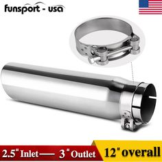 2.5 Inch Inlet Black Exhaust Tip,2.5 x 4 x 12 Exhaust Tailpipe Tip With Blot On-Design