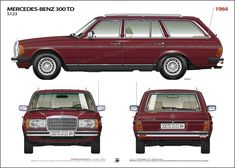 1984 MERCEDES BENZ 300 TD S123 587 PAJETT ROT ikonoto blueprint